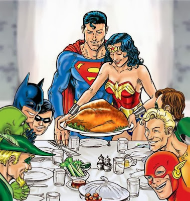 Superman and Wonder Woman serve Thanksgiving turkey. Seated to the left at the table are Robin, Batman, Martian Manhunter (?) and Green Arrow. Seated to the right at the table are Green Lantern, Aqua Man and Flash.