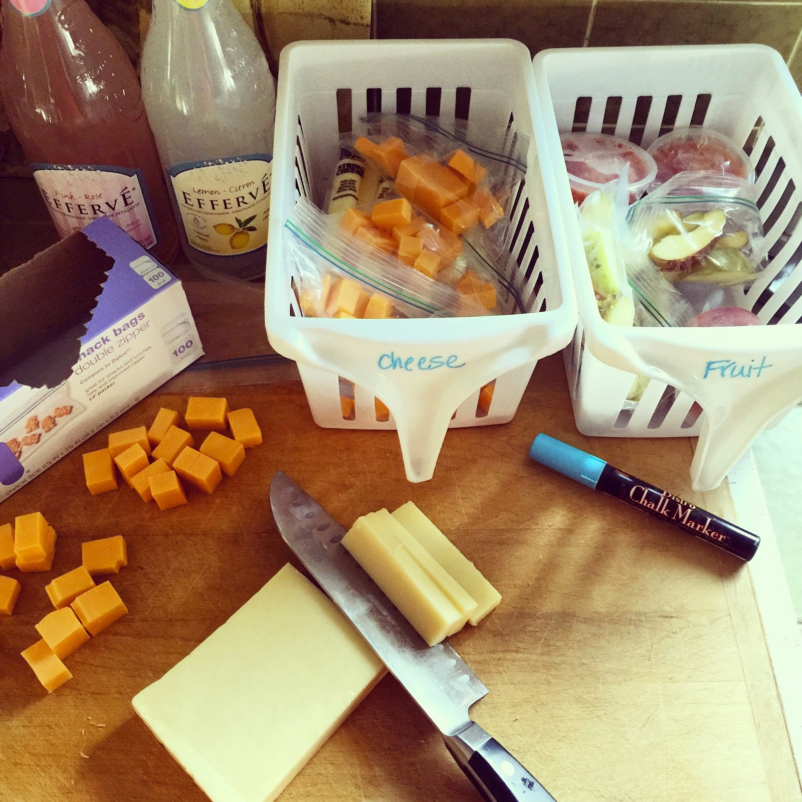 Cut up fruit and cheese for easy grab and go lunch making :: OrganizingMadeFun.com