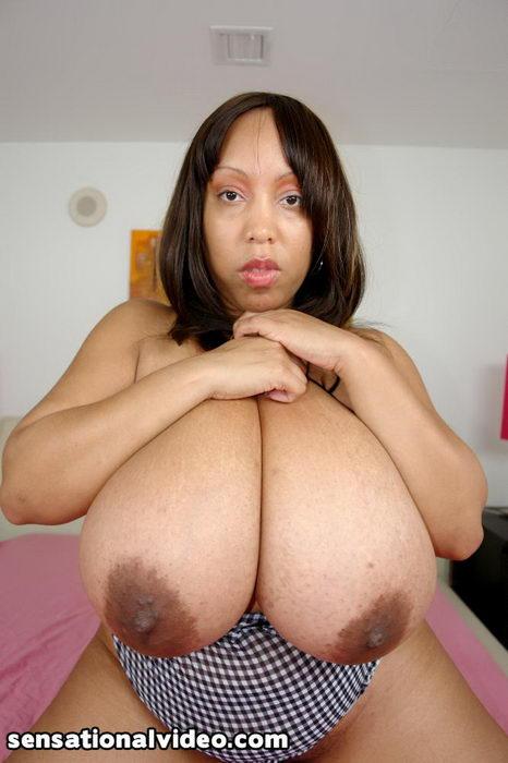 image Black bbw ms deja oils up her huge tits