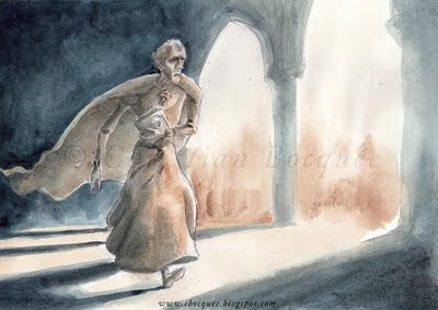Watercolour illustration from Hunchback of Notre Dame