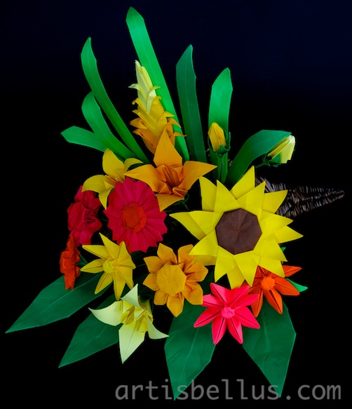 Thanksgiving Cornucopia Origami Flower Arrangement Origami