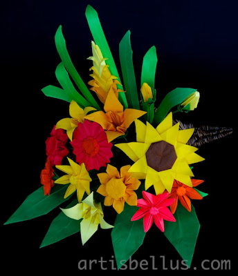 Thanksgiving Cornucopia - Origami Flower Arrangement