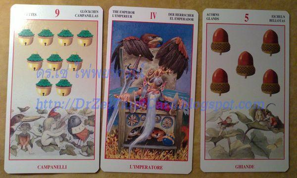 Fairy Tarot Lo Scarabeo ไพ่แฟรี่ จักรพรรดิ์ Emperor 9 Nine of Pentacles Coins 5 Five of Wands เก้าเหรียญ ห้าไม้เท้า ไพ่ทาโร่ ไพ่ทาโรต์ ภูติ