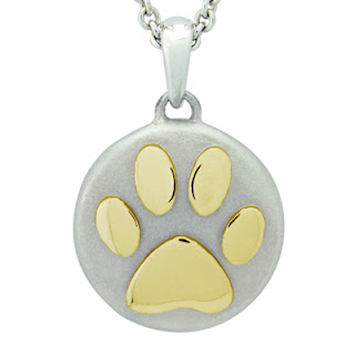 Precious Vessel Yellow Gold Pawprint Cremation Ash Pendant