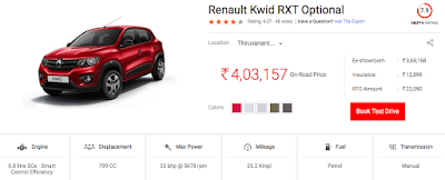 Kwid top model price at TVM - thanks -carandbike.com ndtv.com