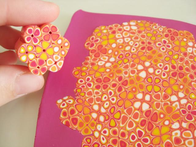 cane fleurettes fleurs fimo polymère