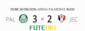 O placar de Palmeiras 3x2 Joinville pela 21ª rodada do Brasileirão 2015