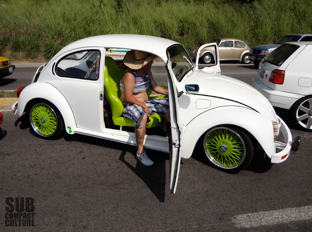 White VW Bug with green wheels from Manzanillo, Mexico
