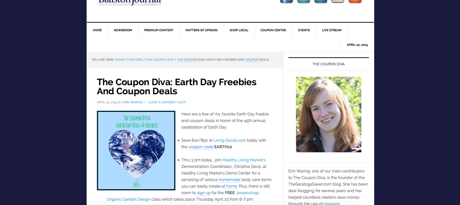 http://theballstonjournal.com/2015/04/22/the-coupon-diva-earth-day-freebies-and-deals/