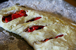 Fougasse Stuffed with Roasted Red Peppers folded over and ready for the oven