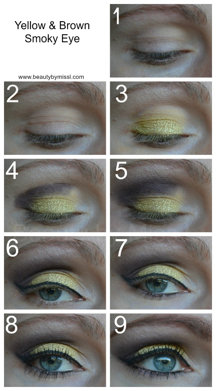 Yellow & brown smoky eye tutorial