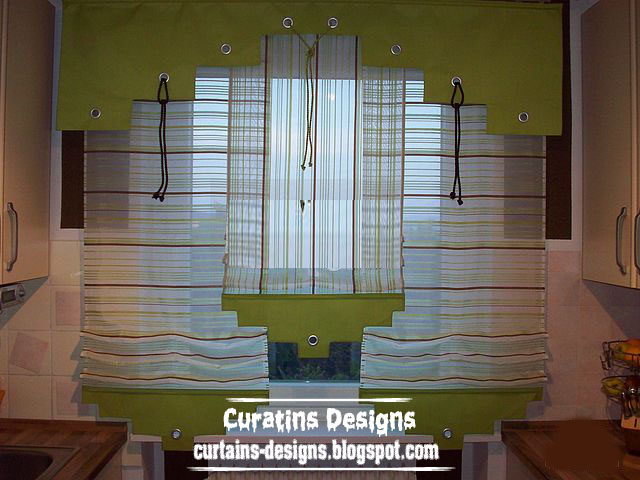 Unique kitchen curtain valance design for modern kitchen for Modern kitchen curtains ideas