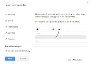 Configuring tabs for gmail