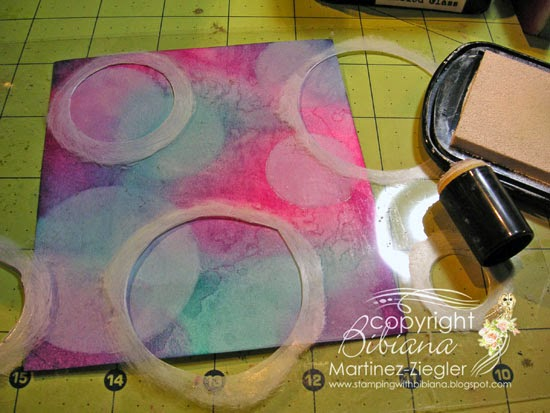 bokeh with distress inks happy birthday card step 2