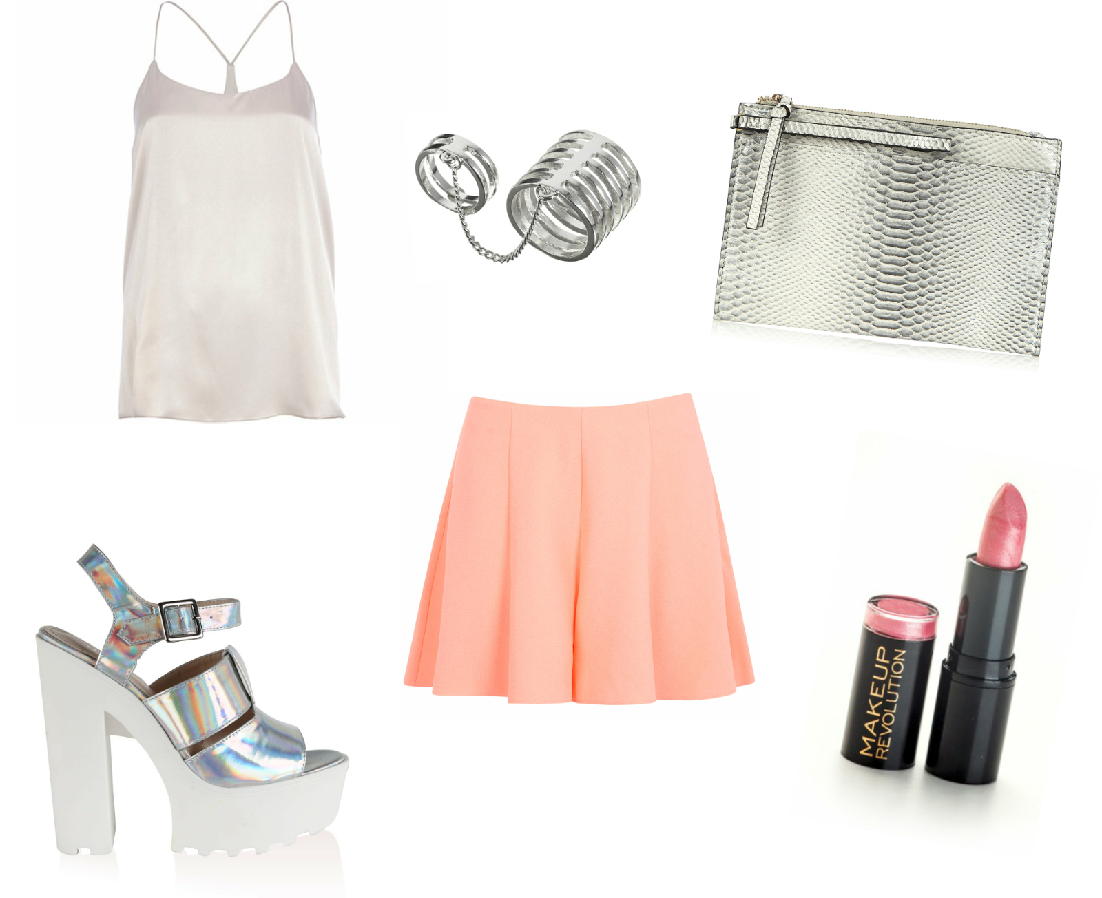 silver, River Island, Miss Selfridge, coral, ASOS, rings, link ring, cleated heels, cleated sole, shoes, holographic, Makeup Revolution, pink, lipstick, night out
