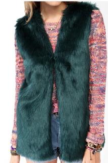 Longline Faux Fur Vest TEAL FOREVER21
