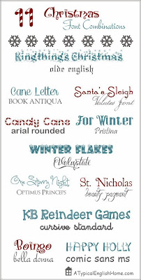 http://www.atypicalenglishhome.com/2013/12/11-great-christmas-font-combinations.html