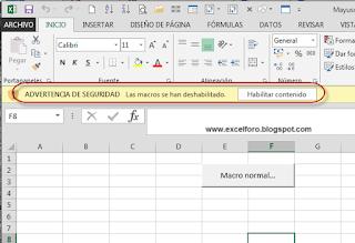 Cómo abrir un libro de Excel con las macros deshabilitadas.