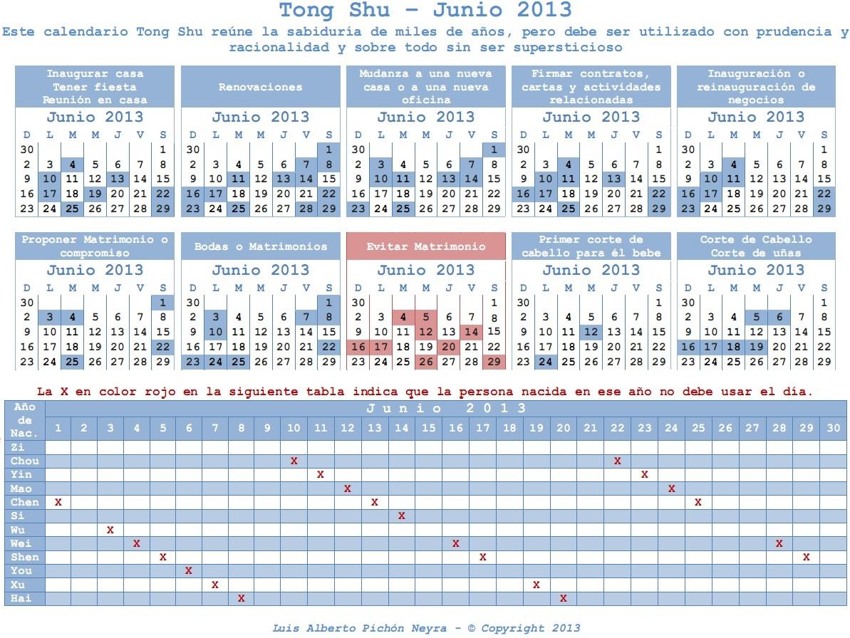 Calendario Chino Tong Shu - Junio 2013