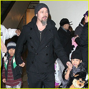 brad pitt and kids photos