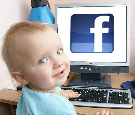 Cute Baby Boy Surfing Facebook Wallpaper