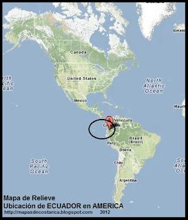 Mapa de Relieve. Ubicación de ECUADOR en AMERICA