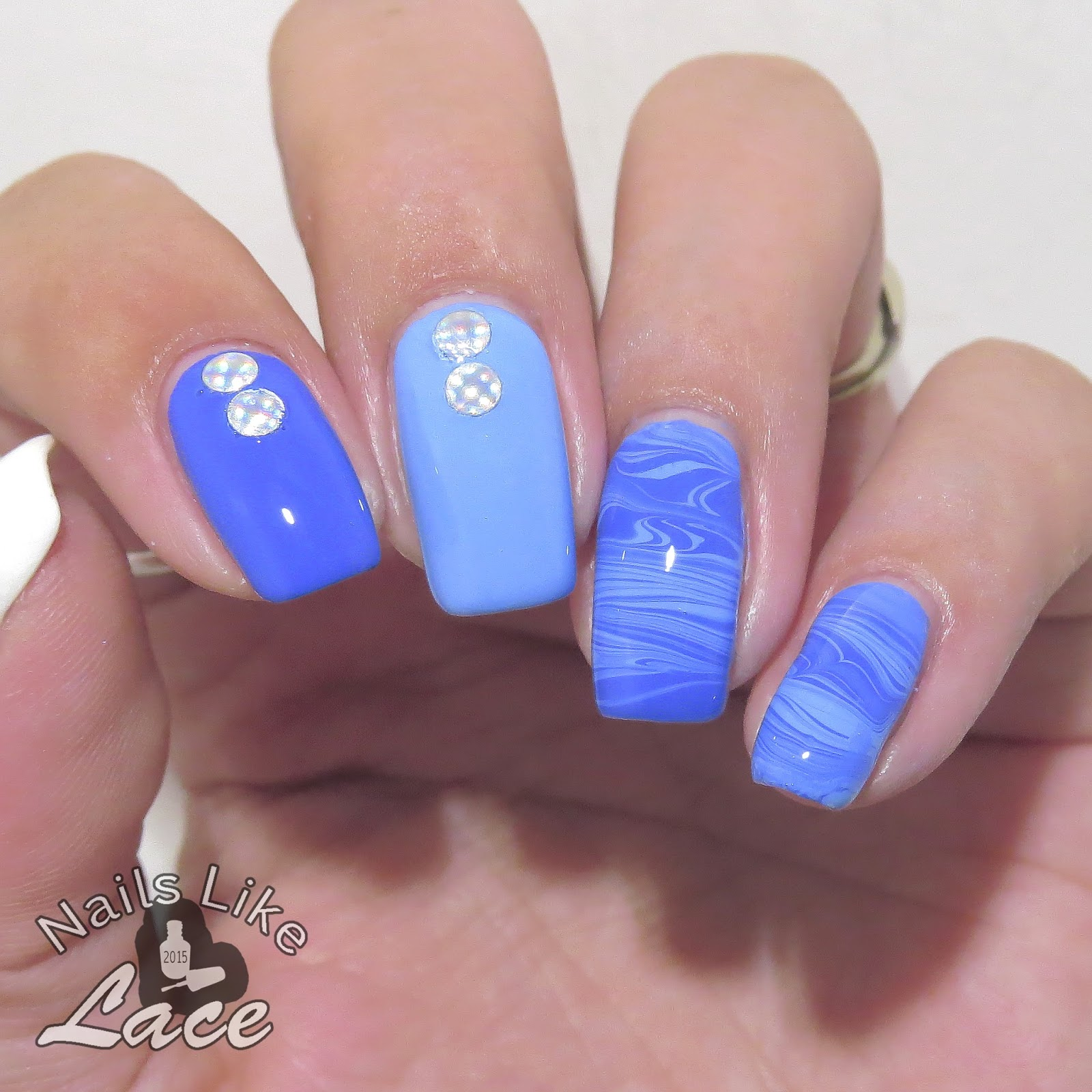 Marble Nail Polish Instructions: NailsLikeLace: Waves Of Blue: Polish Marbling Comb Review