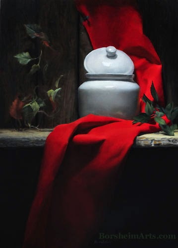 oil painting on wood panel with red cloth, white porcelain, and greenery