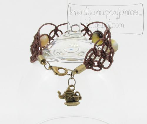 Makramowa bransoletka z agatem fasetowanym 3