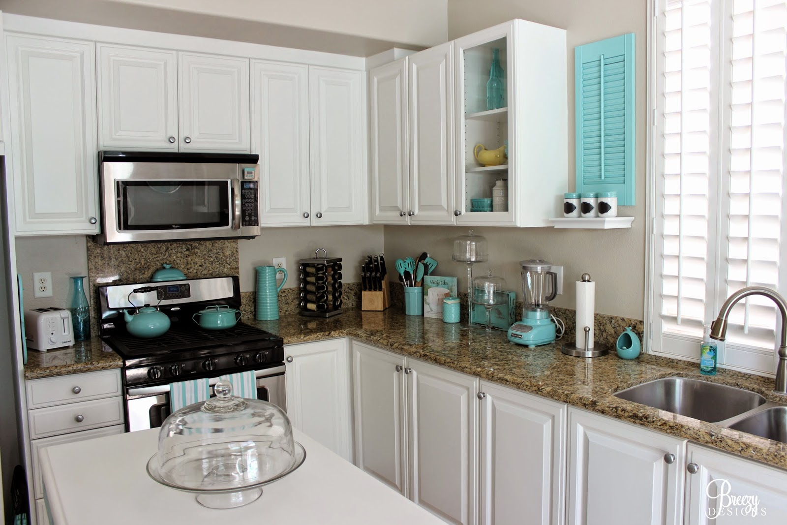 White Kitchen Aqua Accents guest blogger: breezy from breezy designs | house of turquoise