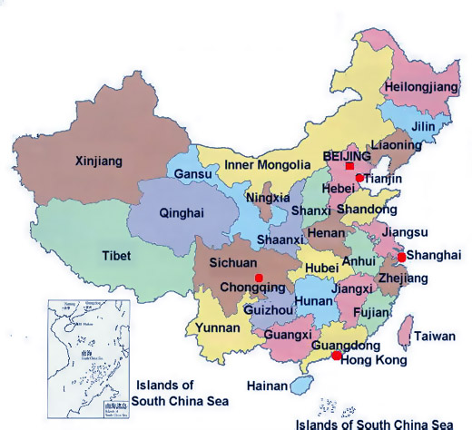 Map of China City Physical Province Regional