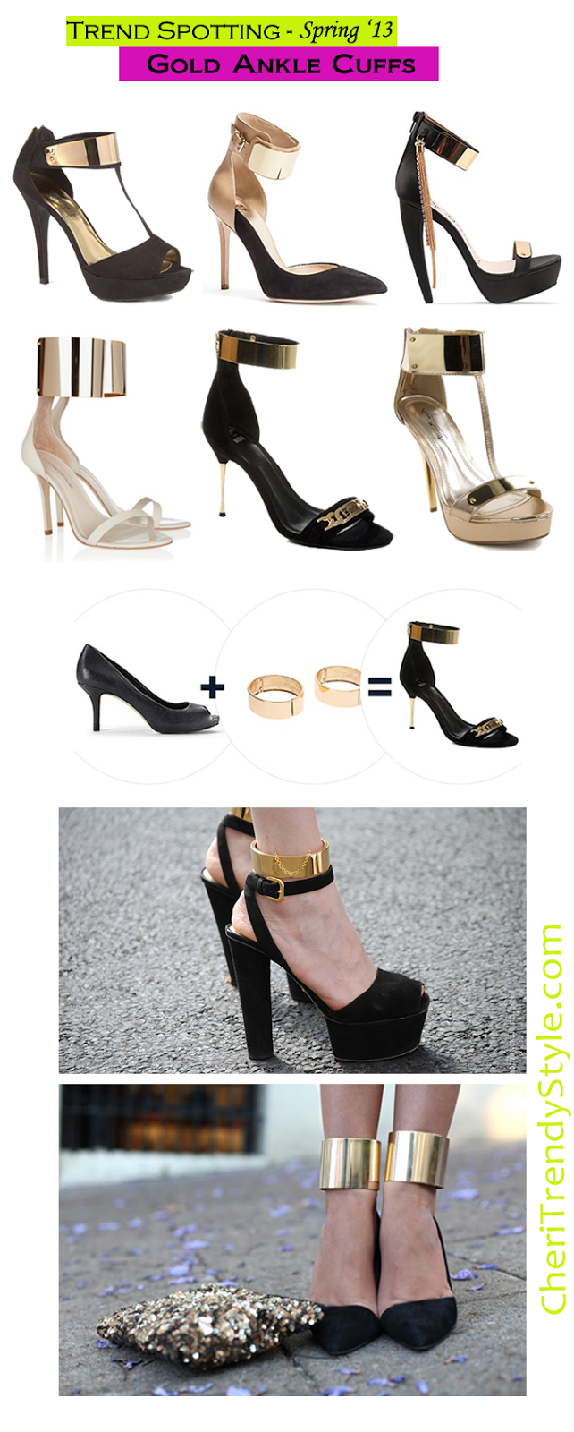 spring, trend, heels, zara, ankle strap heels, ankle heels, ankle strap sandals, neon, prabal gurung, neon pointed shoe, black white, minimalistic, gold cuff sandals, gold cuff, jeffrey campbell, gold chunky chains