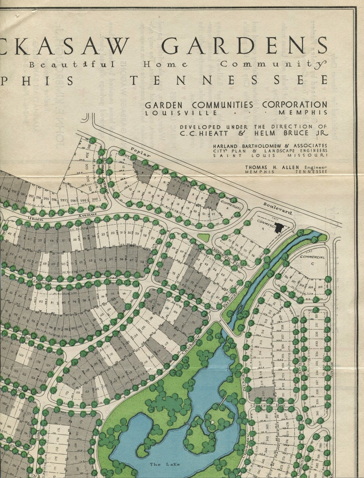 this excerpt from the marketing brochure from the 1950s shows the unsold lots in white 30 years after the subdivision was platted