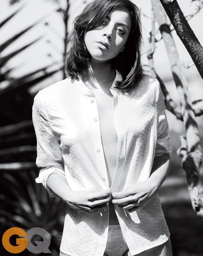Aubrey Plaza in unbuttoned shirt by Tony Todd for GQ