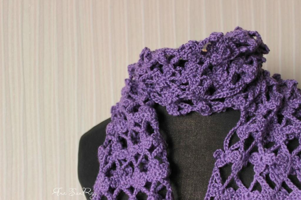 красивый шарф, вязаный шарф, цвет гиацинта, вязание, шарф, шарфик, женский шарф, шарфик крючком, схема шарф крючком, легкий шарик, купить шарфик, оригинальный шарф, подарок для женщины,