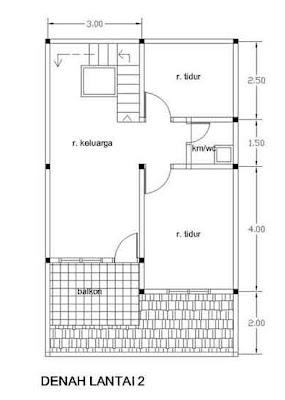 denah desain rumah 2 lantai type 21 lantai 2