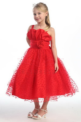 Red+Taffeta+Flower+Girl+Dress