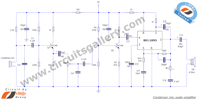 Audio+Amplifier Condenser Microphone Amplifier Schematic using BEL 1895 IC