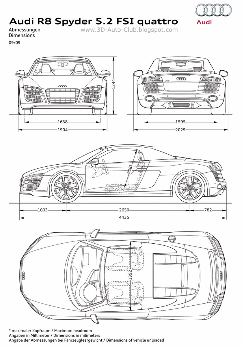 Blueprint / Photo Sketch / Drawings Of Audi R8 Spyder 5.2 FSI Quattro 2011 Car  Model