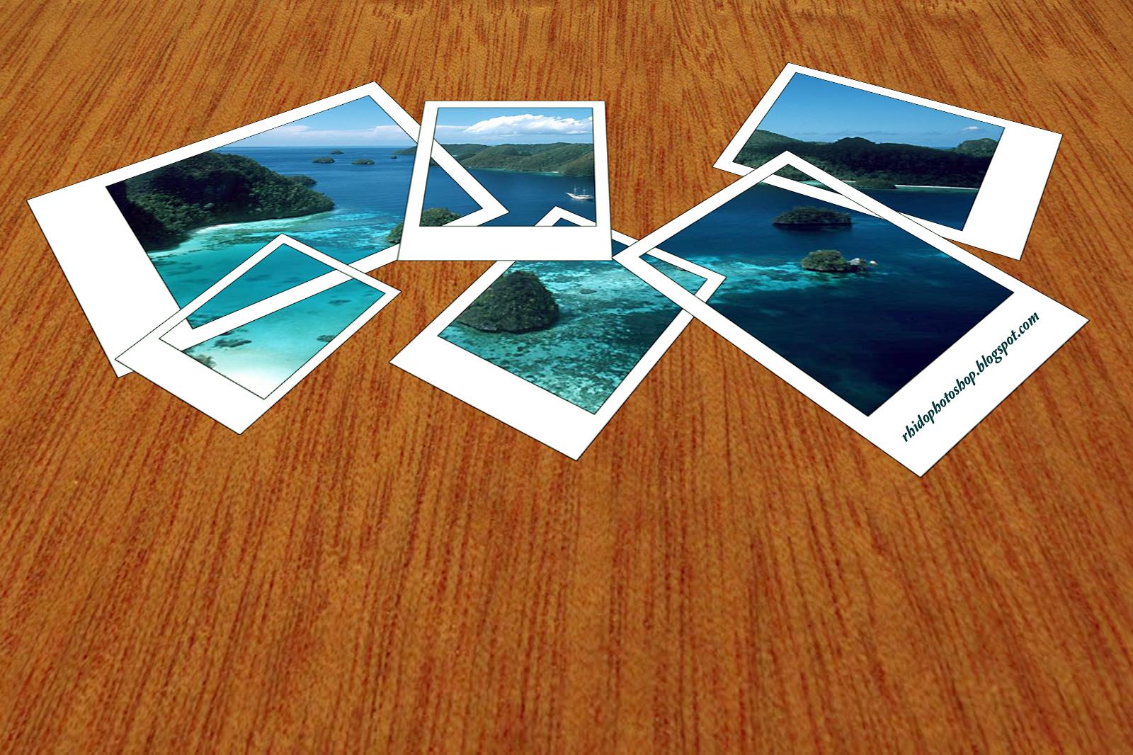 membuat efek foto polaroid tersebar diatas lantai kayu