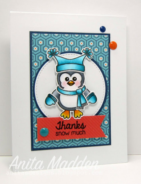 Sunny Studio Stamps: Bundled Up Penguin Thank You Card by Anita Madden.