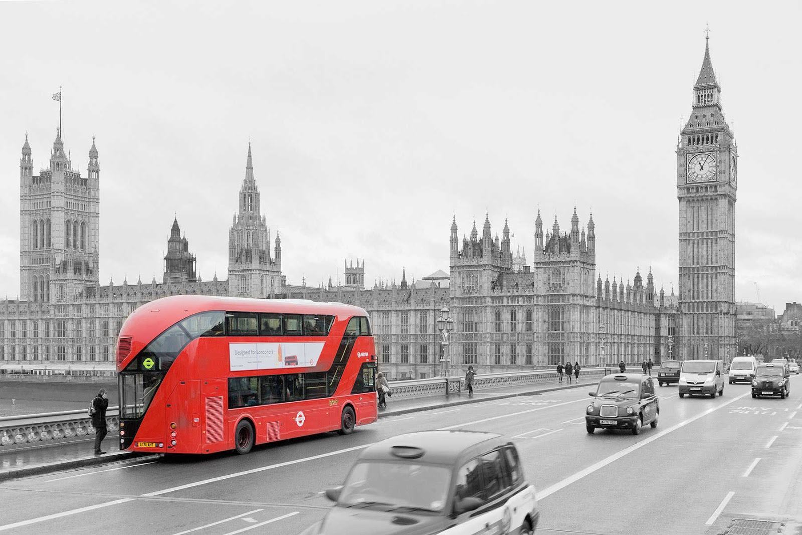 London bus black and w...