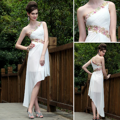 White One Shoulder Asymmetric Tea Length Dress