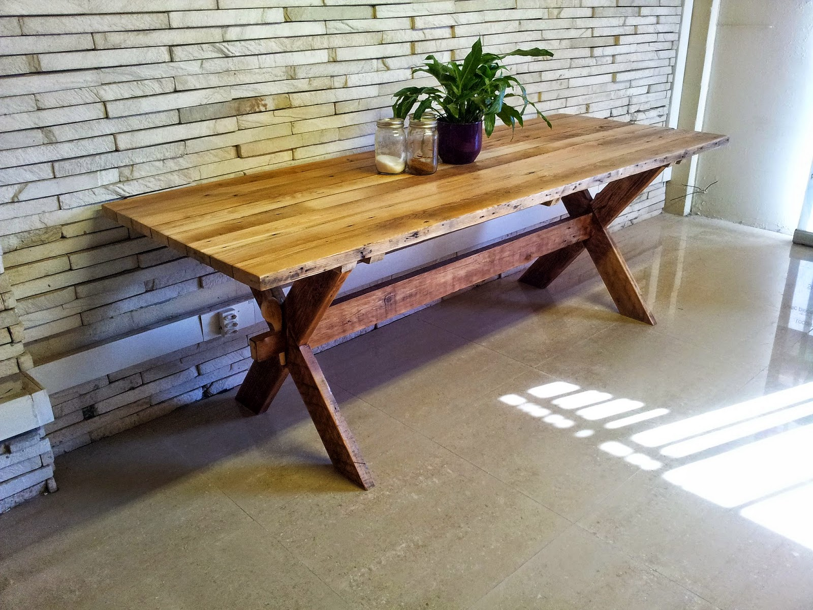 Captivating Lovely X Leg Solid Wood Table Made From Reclaimed Oregon Pine @ Eco  Furniture Design