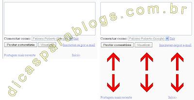 exemplo de espaço nos comentários do blogger