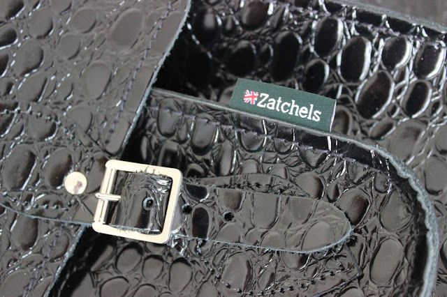 Blog sale Zatchels black crocodile satchel close up
