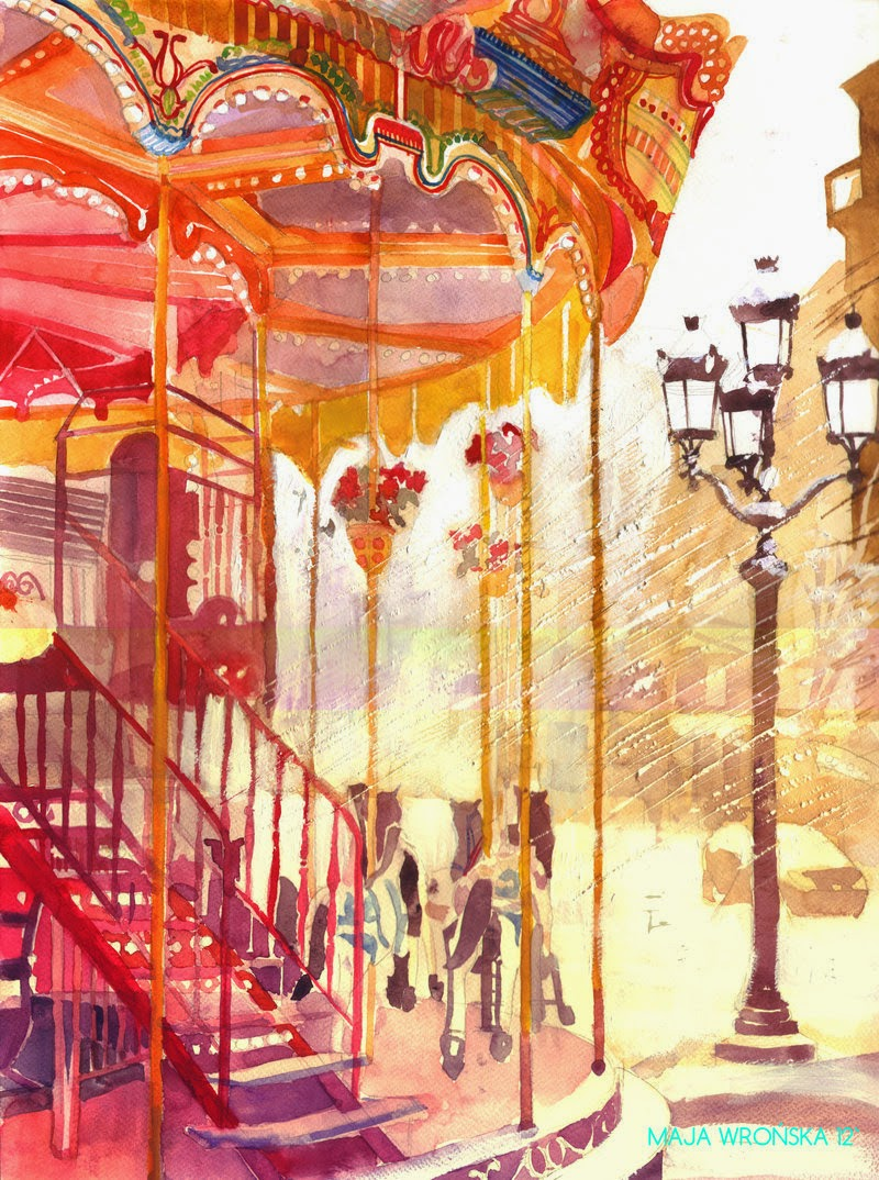 05-Carousel-Maja-Wronska-Travels-Architecture-Paintings-www-designstack-co