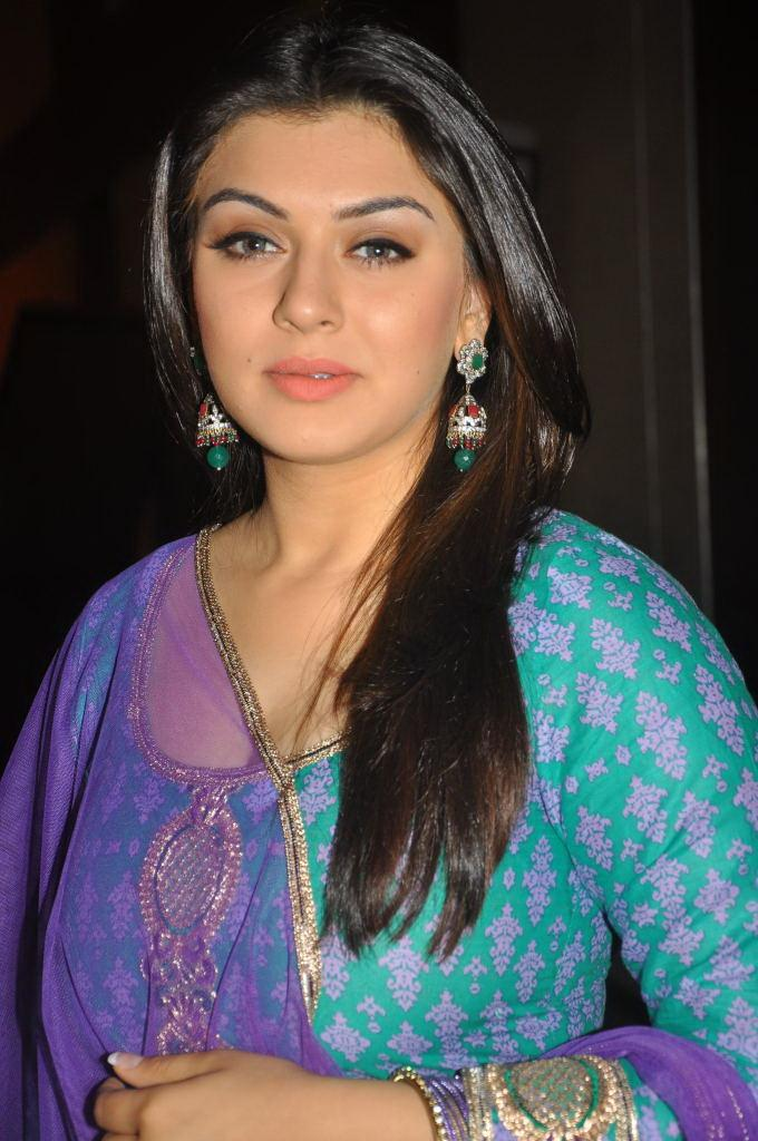 Actress Hansika Motwani Hot And Sexy Images In The Blue Chudithar Showing Her CLeavave And Boobs By Touching Her Hand And Pressing