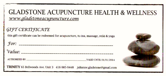 Gladstone Acupuncture Yoga Wellness Gift Certificates