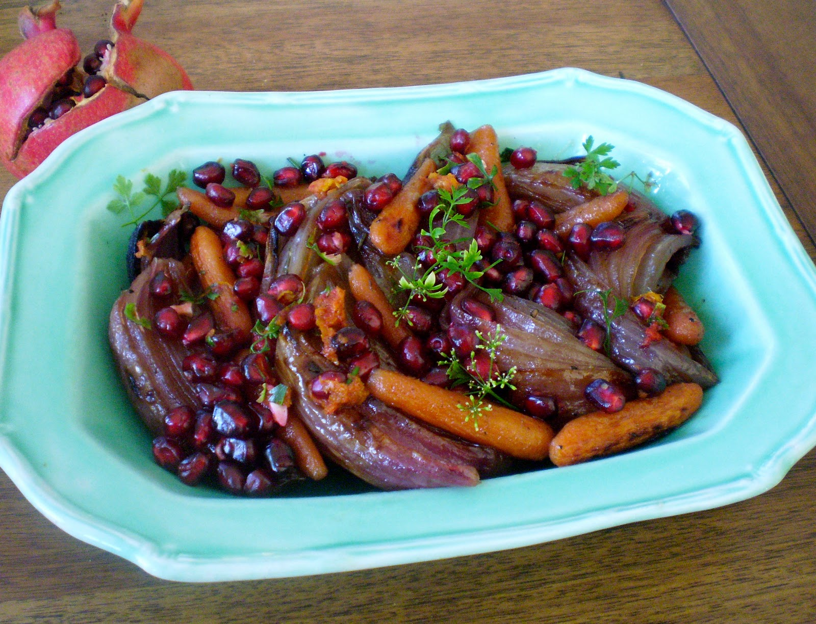 Roasted Red Onions and Carrots with Pomegranate Gremolata | Virtually ...